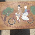 ANTIQUE HAND PAINTED FOLK ART SCENE FOLDING WOOD TABLE BICYCLE BUILT FOR TWO