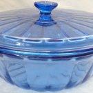 VINTAGE COBALT BLUE GLASS ANCHOR HOCKING CASSEROLE DISH OVEN SAFE 2 QUART SZ
