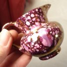VINTAGE OLD CASTLE MADE IN ENGLAND MINIATURE PORCELAIN PITCHER PINK PURPLE DOTS