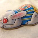 VINTAGE METAL TIN BUNNY RABBIT RACER FRICTION CAR TOY RACING BUNNY JAPAN MADE