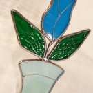VINTAGE HAND MADE STAINED GLASS SUNCATCHERS WALL HANGING DIMENSIONAL TULIP PLANT