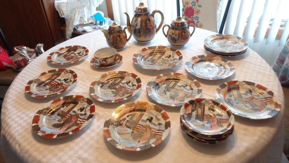 JAPANESE DRAGON WARE SATSUMA TEA SET TEAPOT CREAMER SUGAR BOWL PLATES SAUCERS