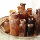 ANTIQUE HUGE AMBER GLASS MEDICINE CURE BOTTLE LOT BROMO-LITHIA FRED STEARNS DIOX