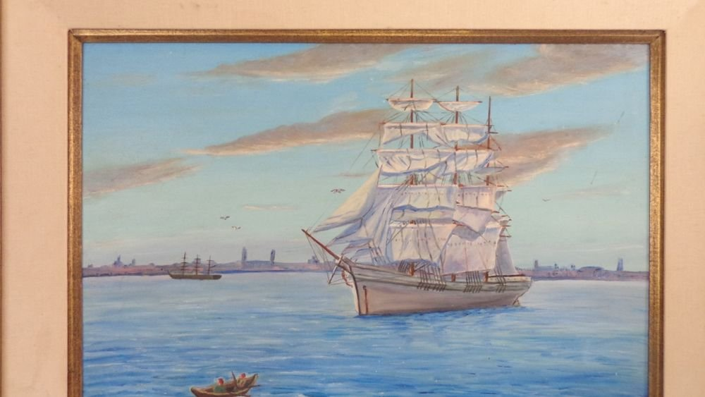 MAGNIFICENT HUGE OIL PAINTING ENGLISH TALL SCHOONER SHIP OCEAN 33X27 FRAMED