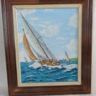 1983 SIGNED RICHARD KNOWLTON ACRYLIC PAINTING FRAMED SAILBOAT SCHOONER NAUTICAL