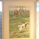 ANTIQUE HAND COLORED PRINT SIGNED FOUCHE DOG SHOOTING DOG COMICAL DUCHERET N 529