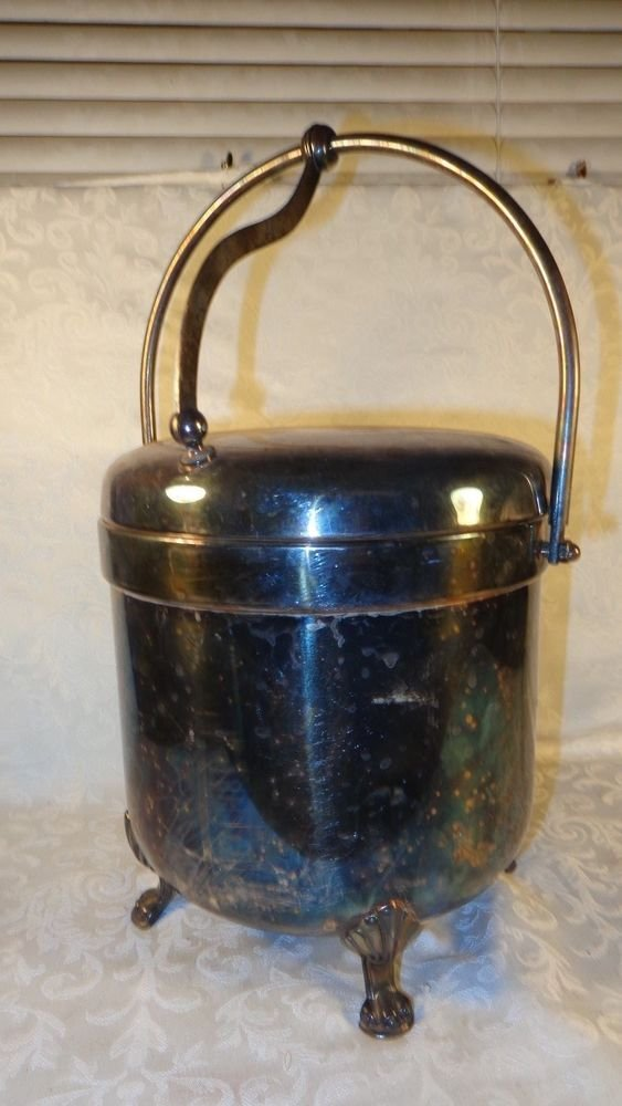 ART NOUEAU 1883 F.B. ROGERS SILVER ICE BUCKET W/GLASS INLAY FOOTED BOTTOM SUPERB