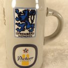 VINTAGE HUGE GERMAN STONEWARE BEER STEIN CREST MUNCHENPSCHORR LOWENBRAU SUPERB