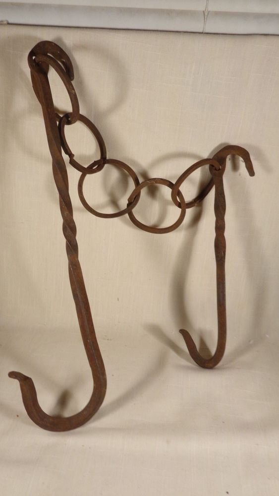 ANTIQUE PRIMITIVE FIREPLACE MEAT HOOK HAND WROUGHT IRON ROASTER TOOL BUTCHER
