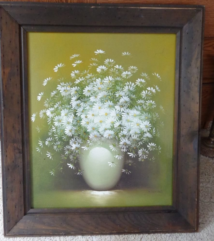 BEAUTIFUL VINTAGE SIGNED MEDINA OIL PAINTING WOOD FRAME DAISY FLOWERS IN VASE
