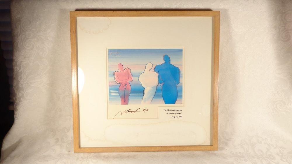 1990 ARTIST PETER MAX SERIGRAPH PRINT FRAMED SGD PALETTE OF PEOPLE RARE FIND