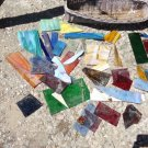 HUGE STAINED GLASS LOT AGATE SLAG GLASS MOSAIC ART WATERGLASS PURPLE AMBER NICE