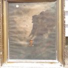 ANTIQUE ADV PAINTING WOOD FRAME OLD MAN MOUNTAIN COMPLIMENTS -NH FIRE INSURANCE