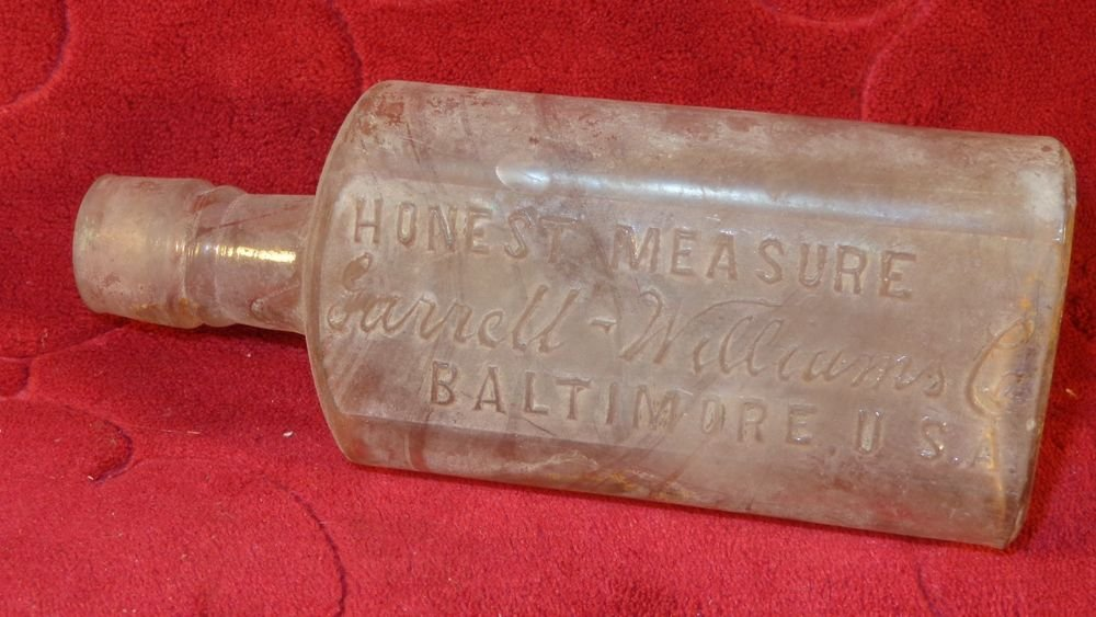 "ANTIQUE GARRET WILLIAMS CO ""HONEST MEASURE"" ANTIQUE GLASS BOTTLE BALTIMORE MD"