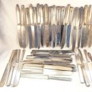 ANTIQUE SILVERPLATE LOT 41 DINNER KNIVES JEWELRY DESIGN CRAFTS FLORAL