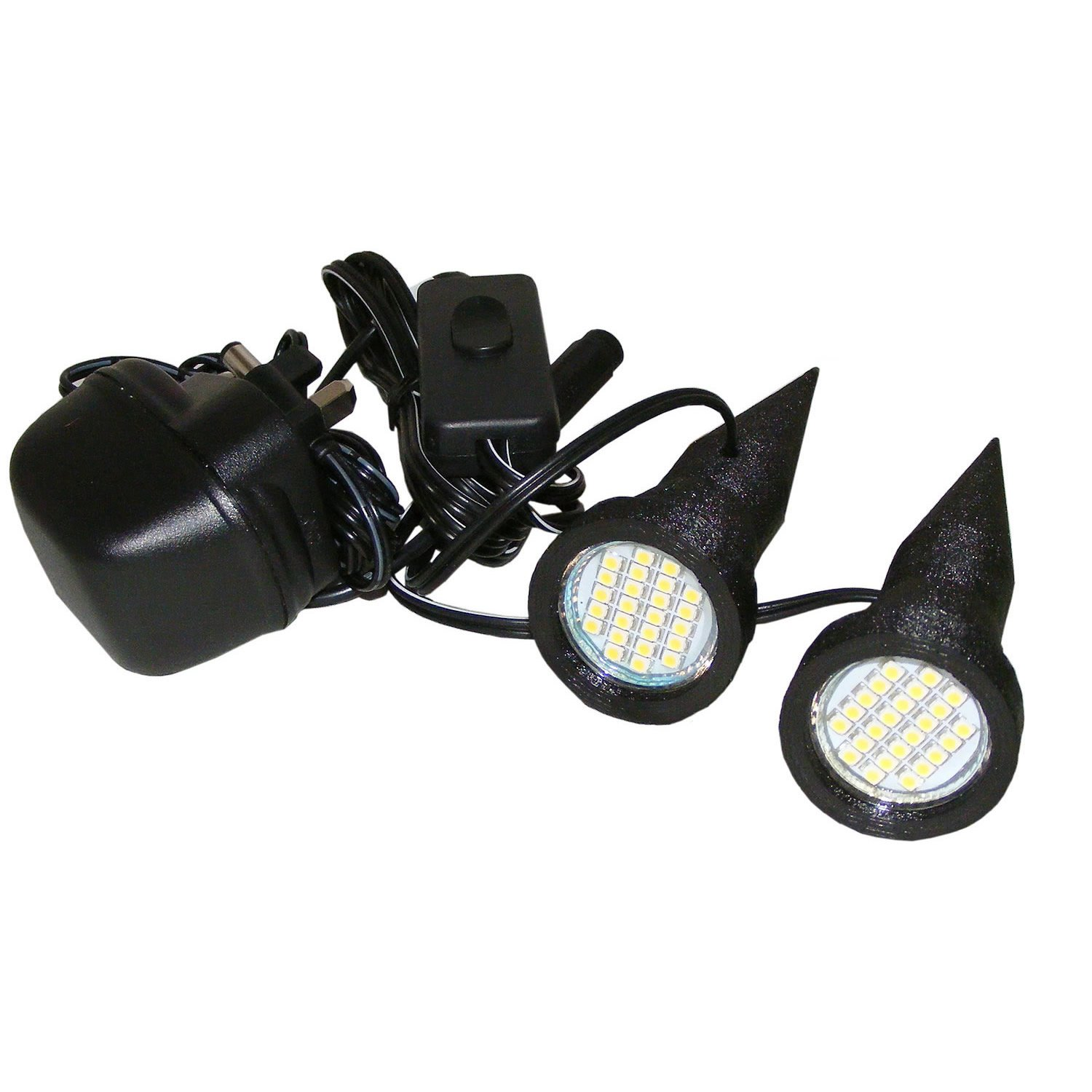Pair of Superbright White Plant Pot Uplighters / Spike Lights with Mains Adapter