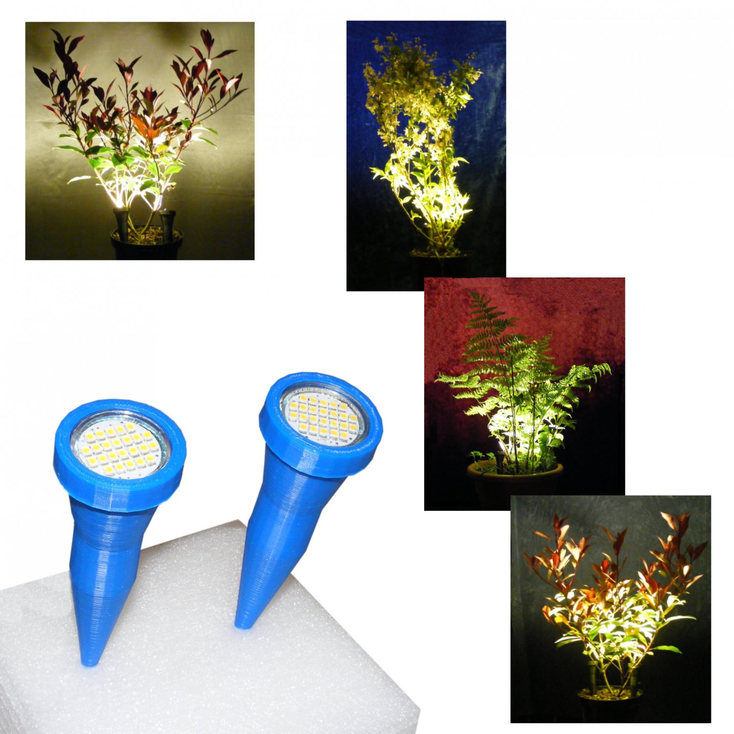 Pair of Blue Plant Pot Uplighters / Plant Pot Spike Lights with Mains Adapter