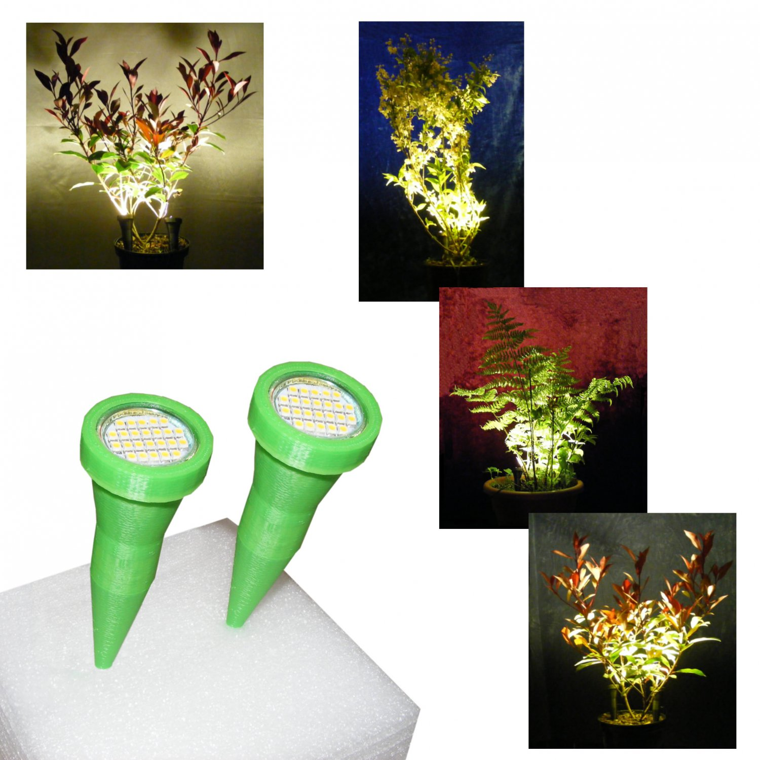 Plant Pot Display Lights / Uplighters in Green / Pair of Plant Pot Spike Lights with Mains Adapter