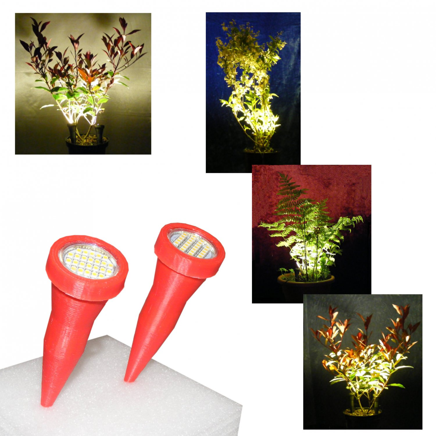 Plant Pot Uplights / Uplighters / Spike Lights in Pink with Mains Adapter - Price reduced to clear