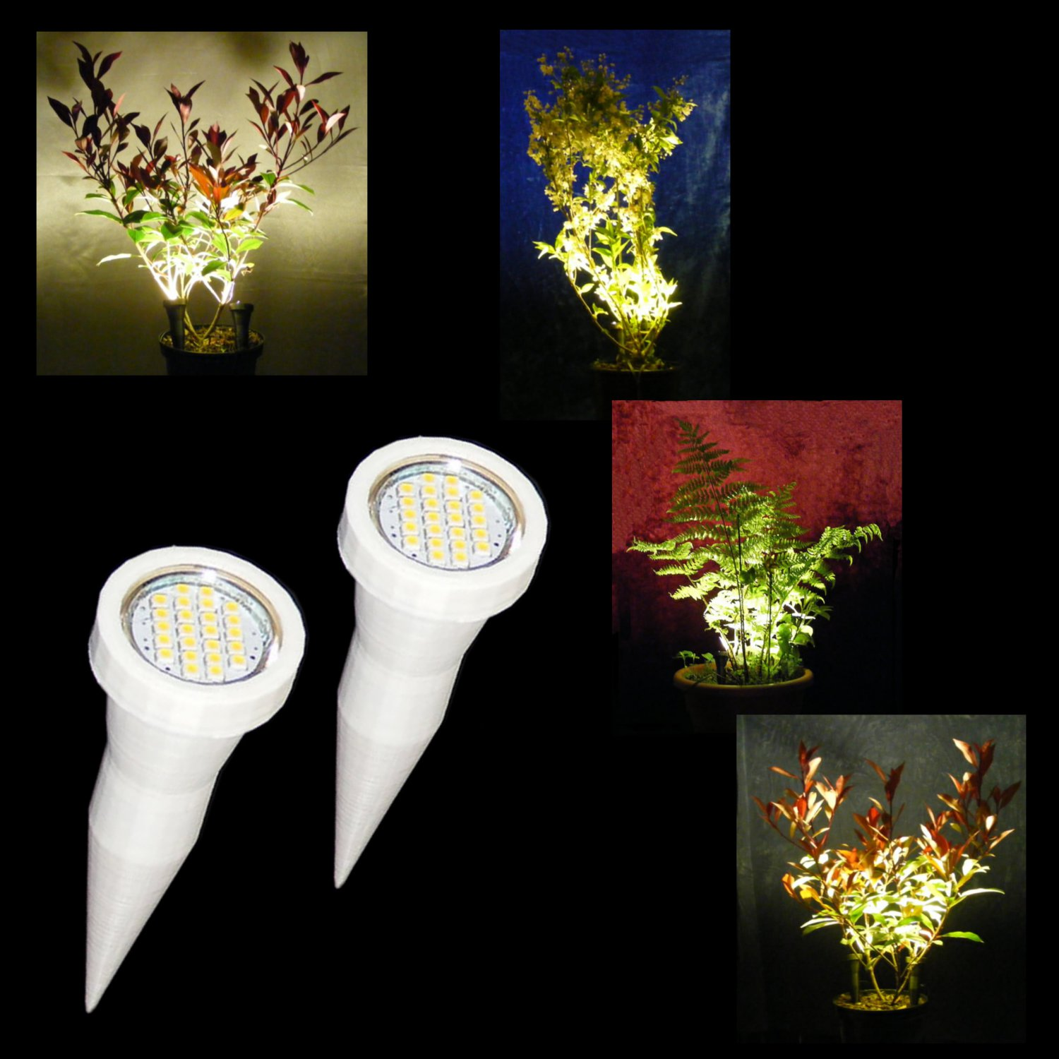 White Plant Pot Spike Lights / Pair of LED Plant Pot Uplighters / Display Lights with Mains Adapter
