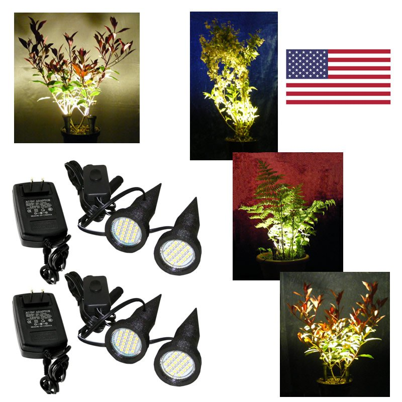 Two Pairs of Black Plant Pot Uplights / Uplighters / Spike Lights with USA Power Supplies