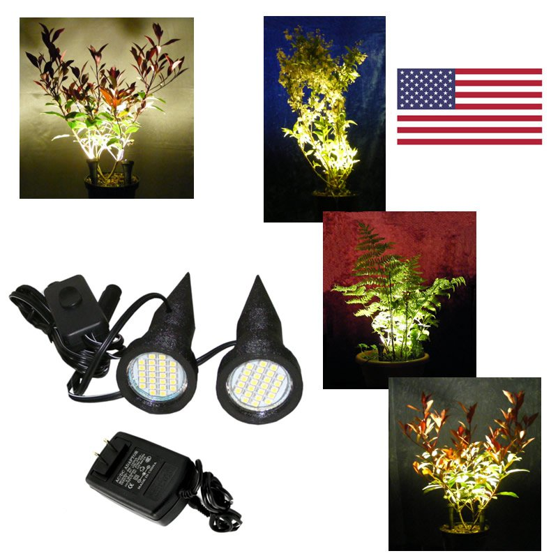 Pair of Black Plant Pot Lights / Uplighters / Spike Lights with USA Power Supply