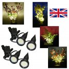 Two Pairs of Black Plant Pot Uplighters / Uplights / Plant Pot Spike Lights with UK Power Supplies