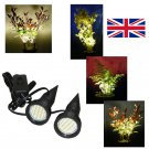 Pair of Black Plant Pot Uplighters / Plant Pot Lights / Spike Lights with UK Power Supply