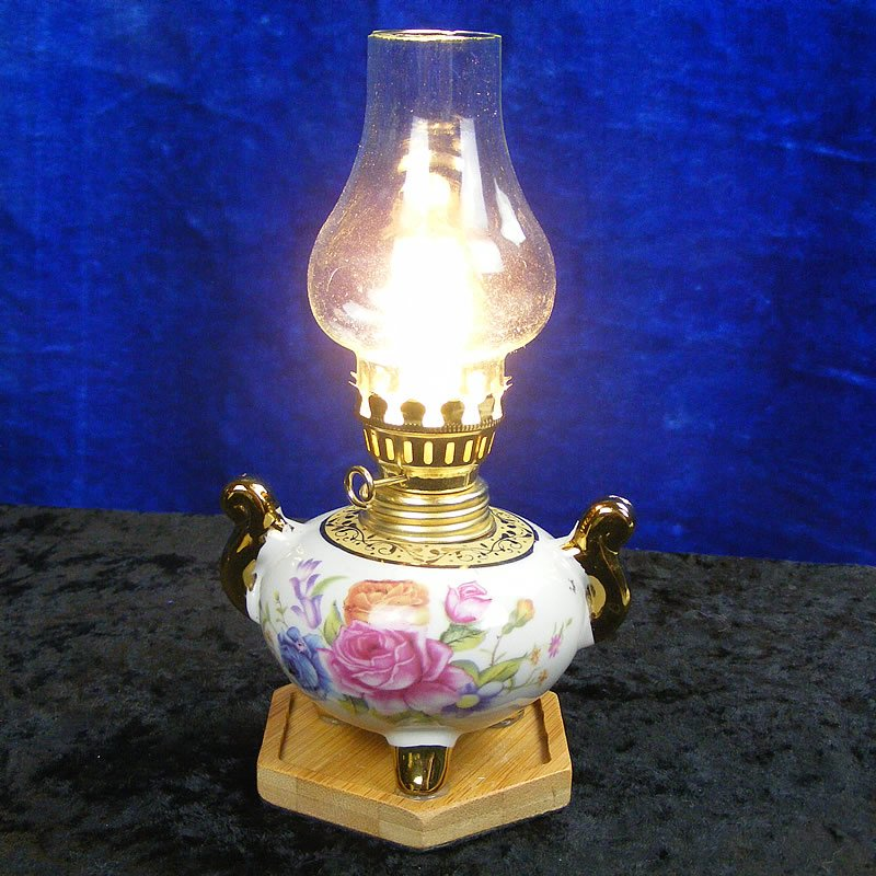 Decorative Porcelain Oil Lamp Style LED Table Lamp or Bedside Light with Shade
