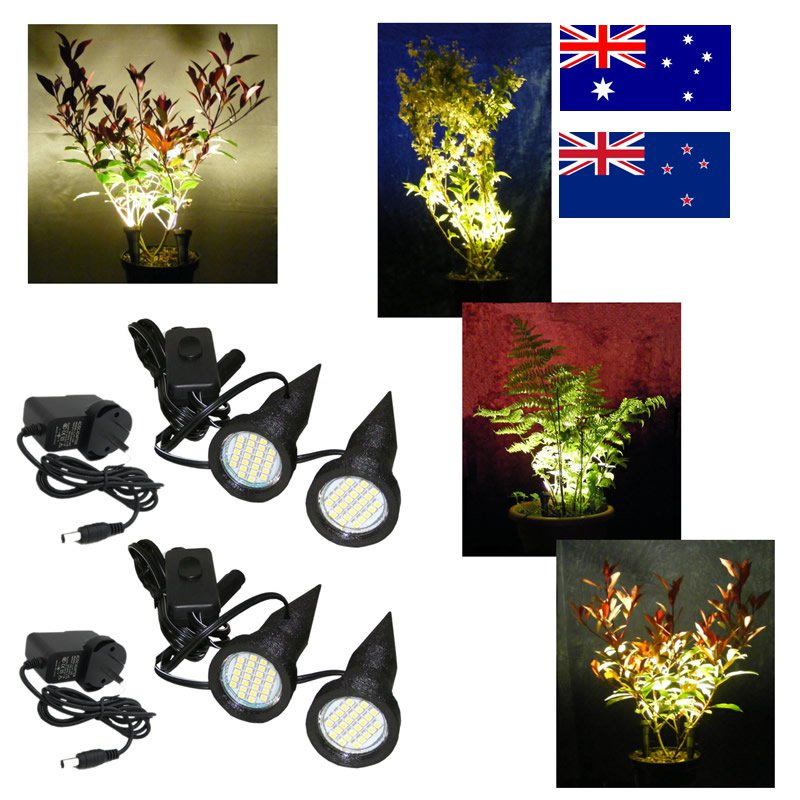 Two Pairs of Black Plant Pot Uplighters / Spike Lights with Adapters for Australia / New Zealand