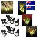 Two Pairs of Black Plant Pot Uplighters / Spotlights with Adapters for Australia / New Zealand