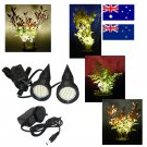 Pair of Black Plant Pot Lights / Uplighters / Spotlights with Adapter for Australia / New Zealand