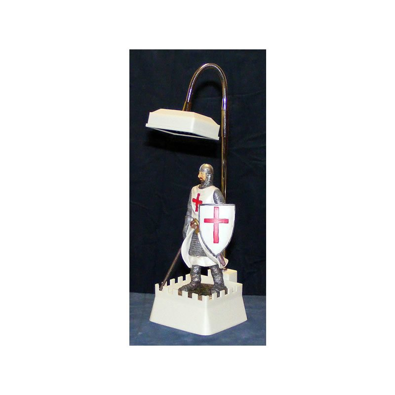 Knight Templar Crusader with Lance and Shield Desk or Table Lamp
