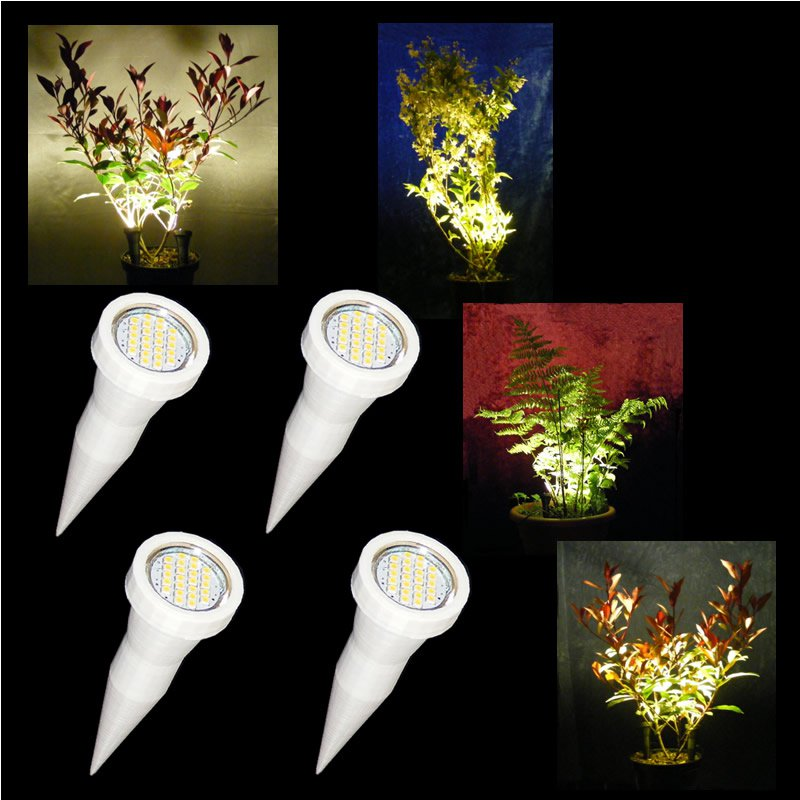 2 Pairs of White Plant Pot Spike Lights / LED Plant Pot Uplighters / Display Lights