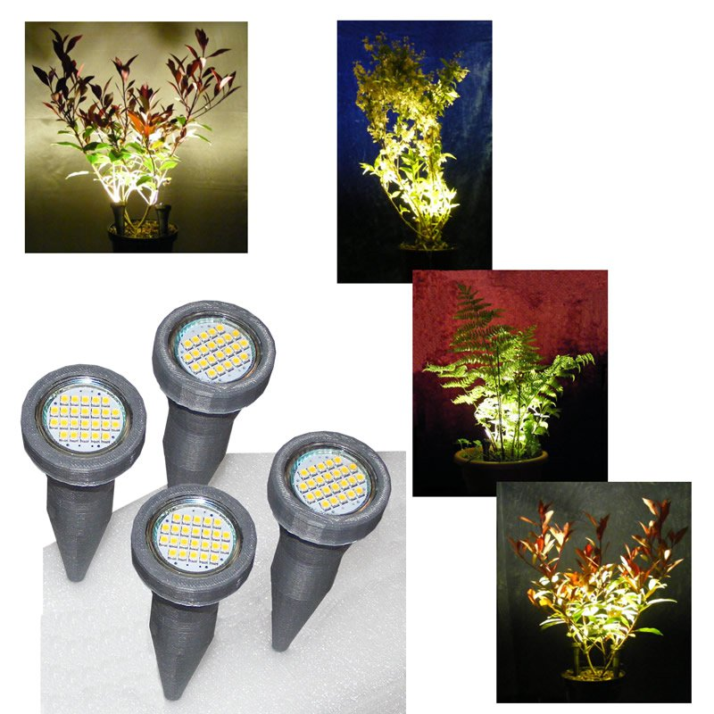 2 Pairs of Silver Grey Plant Pot Spike Lights / LED Plant Pot Uplighters / Display Lights