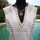 Cache $98 ELABORATE NAIL HEAD- LINED Top NWT S/M/L STRETCH CASUAL EVENT