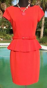 Cache $178 STRETCH~ PEPLUM DRESS LINED Top NWT M/L 8/10/12 + BELT Contour