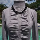 Cache $98 Top NWT XS/S/M/L STRETCH SHIRRED RUCHED SILVER GRAY BANDED BOTTOM