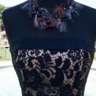 Cache $188 BONE- in BUSTIER EVENT DRESS NWT STRAPLESS LACE FRONT LINED XS/S/M