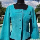 Cache $198 LEATHER SUEDE Lined Jacket Top NWT XS/S/M MEDITERAIN BLUE