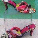 "Costablanca $125 2 3/4"" HEEL LEATHER Sandal Shoe NIB 8 MULTI COLOR SLIDE SILK"