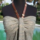 Cache $98 STRETCH HALTER Top NWT L/XL LINED TOP EMBELLISHED LEATHER TIE AT NECK