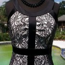 Cache $198 LACE TEXTURE STRETCH DRESS LINED NWT S/M 4/6/8 CUT-IN SLEEVE SATIN