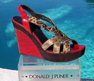 Donald Pliner $350 COUTURE GATOR LEATHER WEDGE Shoe METALLIC HAIR CALF SIGNATURE