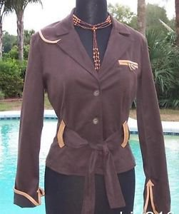 Cache $188 COTTON SUEDE + REMOVABLE BELT LEATHER TRIM Jacket Top NWT XS/S/M/L