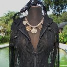 Cache $148 PEEK-A-BOO LACE HOODIE FRONT ZIP COVER-UP Top NWT 0/2/4/6/8/10
