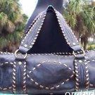 Cache $148 BLACK LEATHER PURSE BRONZE METALLIC STITCHING NWT BAG EVERYDAY EVENT