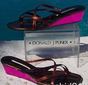 Donald Pliner $260 COUTURE METALLIC LEATHER WEDGE Shoe NIB 12  STRAPY THONG