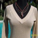 Cache LUXE $98 GOLD METALLIC DOUBLE PLUNGING V Top NWT XS/S/M STRETCH