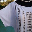 Cache STRETCH $$$ TEE Top NWT S/M  ELABORATE NAIL HEAD  PEEK-A-BOO SLEEVE